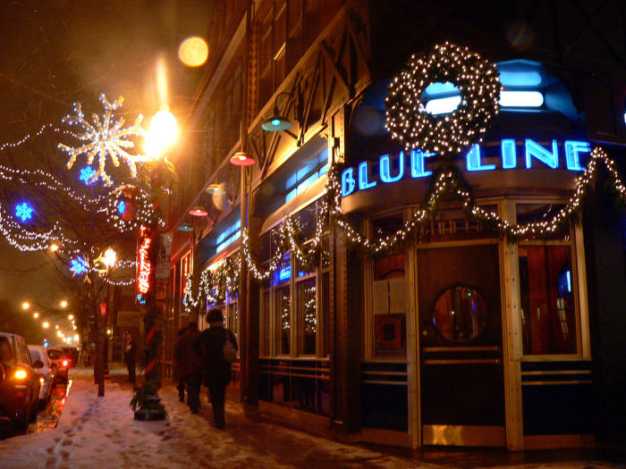 Exterior of Blue Line at holidays