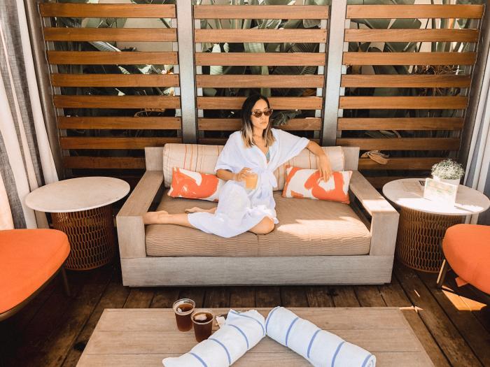 Amanda in the Pool Cabana at the Marriott Irvine Spectrum