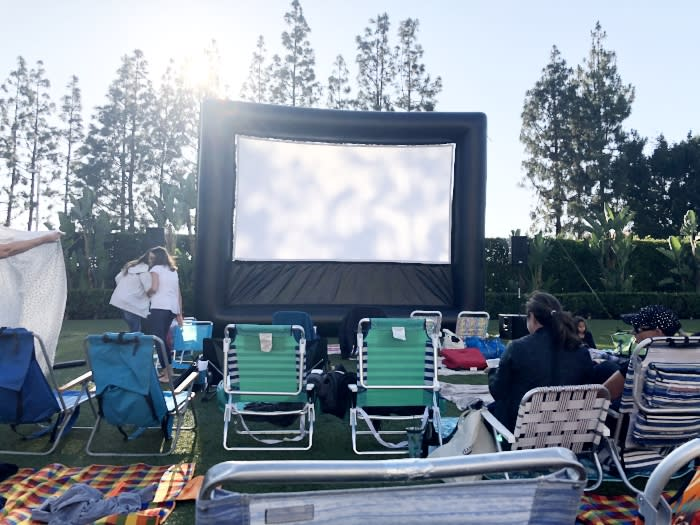 outdoor screen for movie night at Hotel Irvine