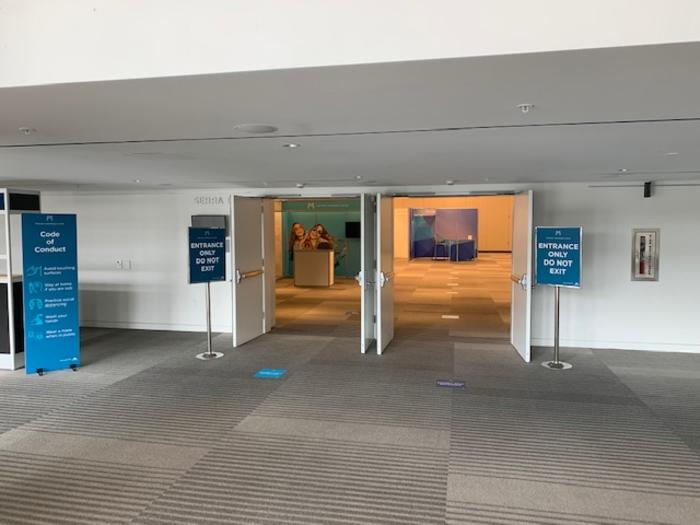 Organizers at MCC have designed floor layouts that allow visitors to maintain distance yet still engage at conferences.