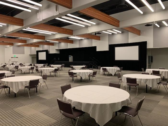 MCC Organizers have prepared a banquet hall layout that follows current COVID safety guidelines.