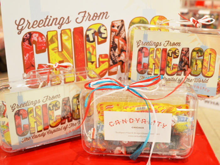 Boxes of Chicago branded candy from Candyality