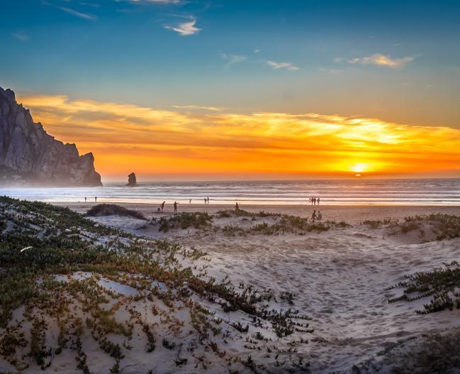 Morro Rock Beach at sunset