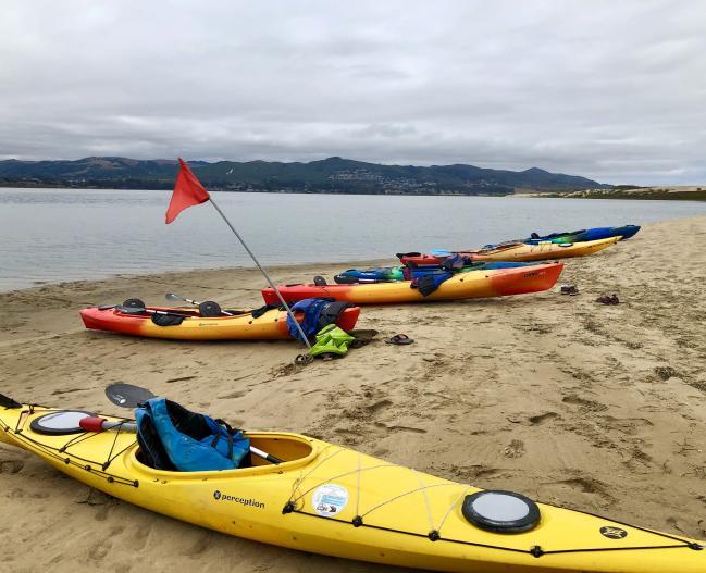 kayak on sandspit
