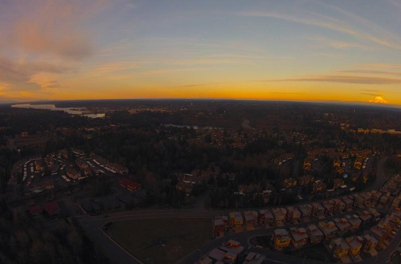 A view of Mount Rainier and the surrounding region from atop Tumwater Hill.