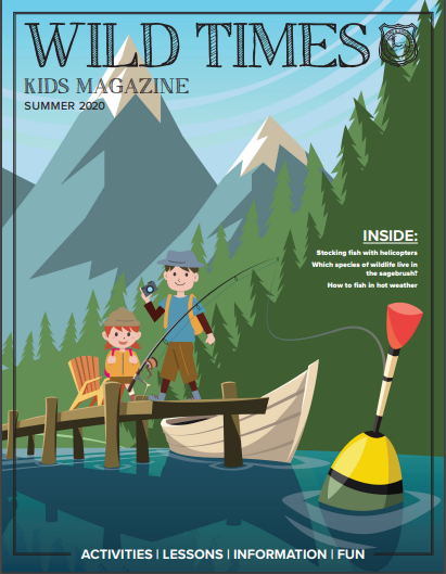 Cartoon Cover of Wild Times with kids fishing off a dock, with the bobber in the foreground. Kids magazine put out by Wyoming Game and Fish