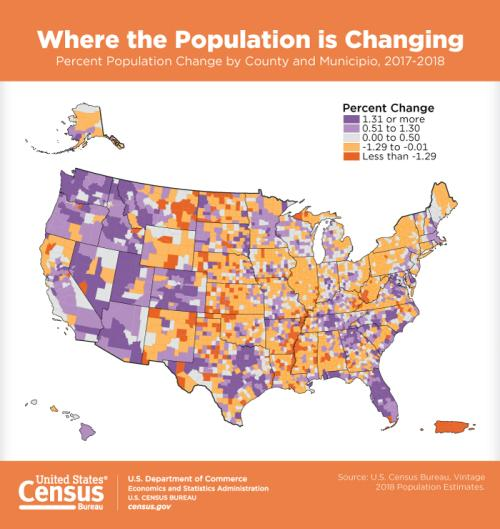 US Census 2019 Population map