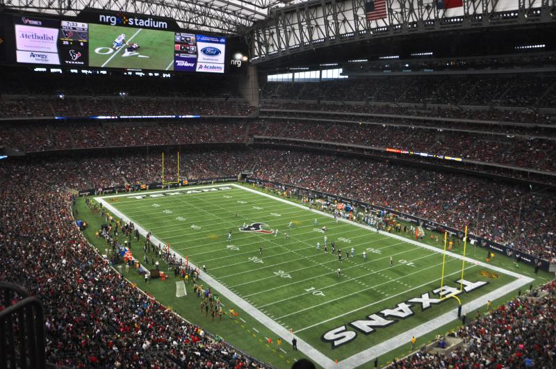 Texans Playing Football in NRG Stadium in downtown Houston