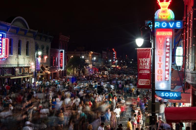 Sixth Street nightlife, aerial view