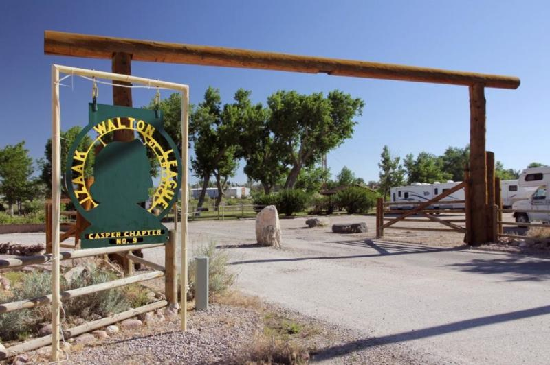The entrance of Fort Caspar Campground welcomes visitors.