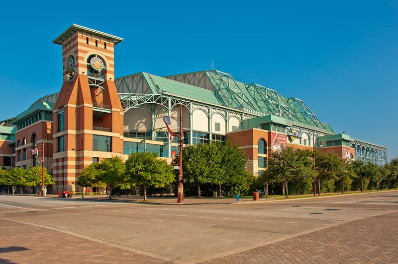 Exterior of Minute Maid Park in downtown Houston