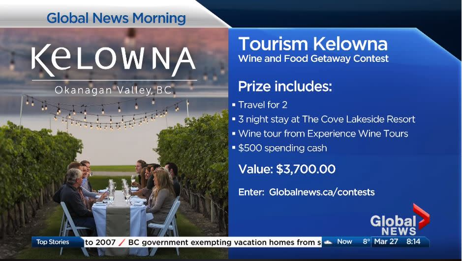 Photo of contest promotion on television