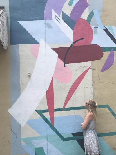 Bright and cheerful mural of geometric shapes.