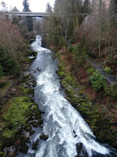The paved and kid-friendly trail near Tumwater Falls.