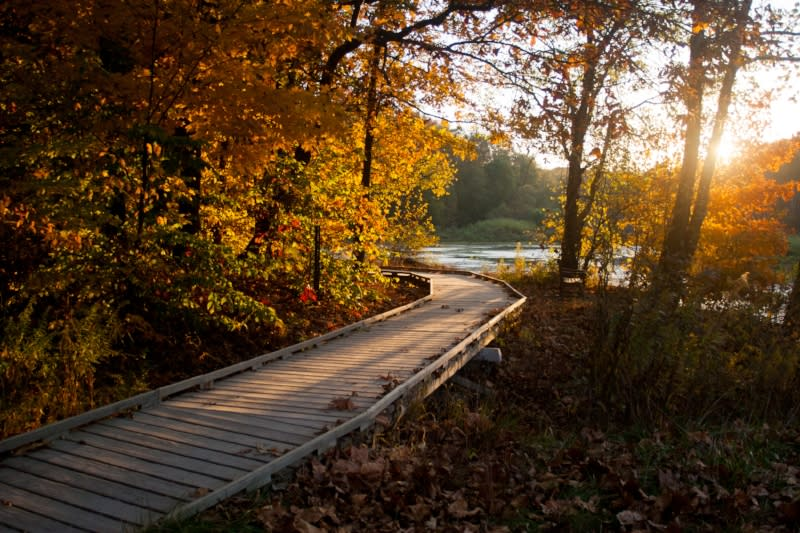 The sun sets over the boardwalk of Lake Griffy in Bloomington, IN in the fall