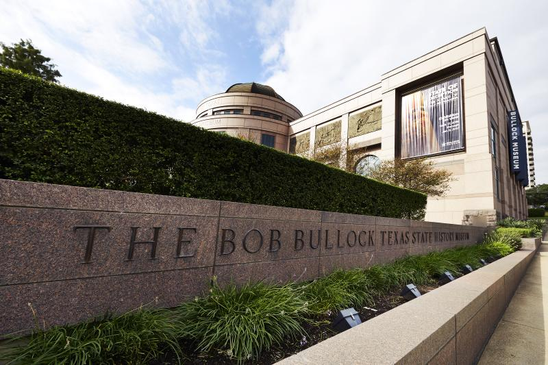 Bullock Museum exterior with sign