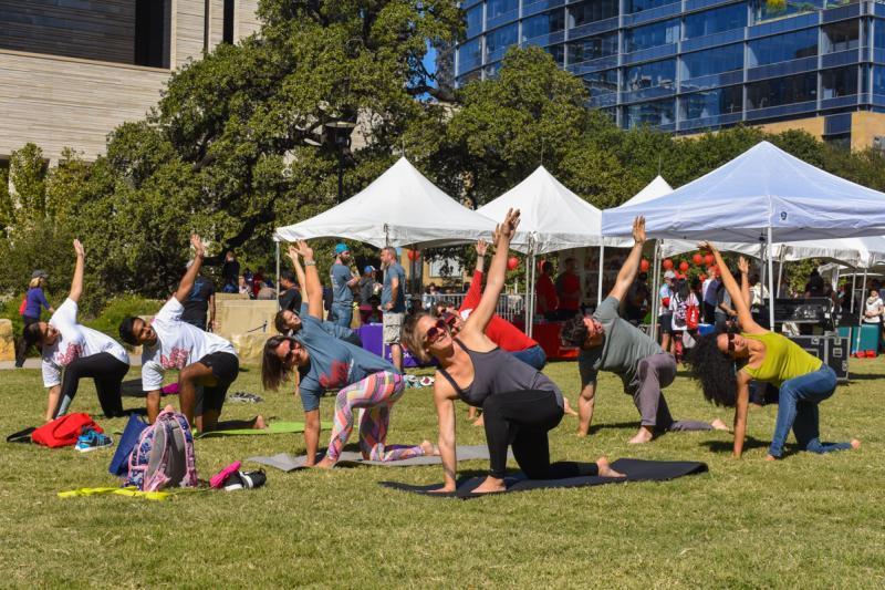 Yoga in the park at Republic Square Park