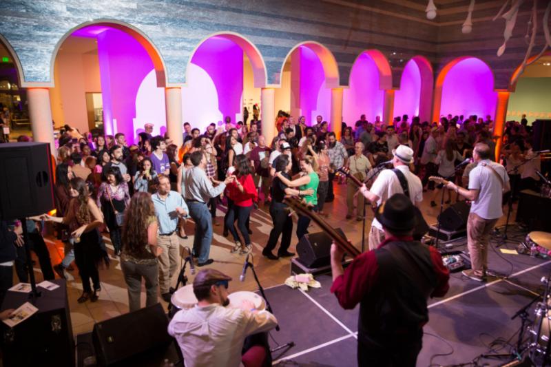 People dancing at the Blanton Museum Block Party