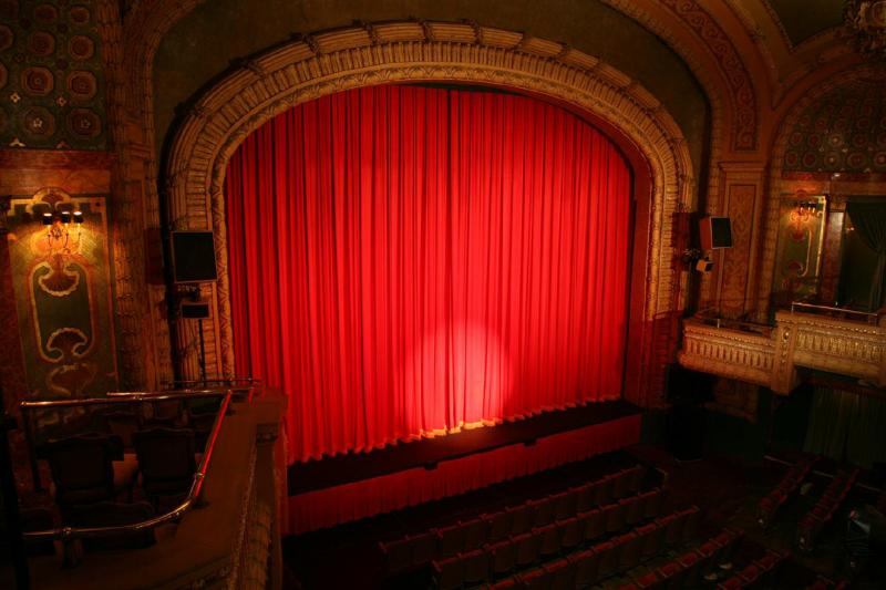 Paramount theater interior curtains and stage in Austin Texas