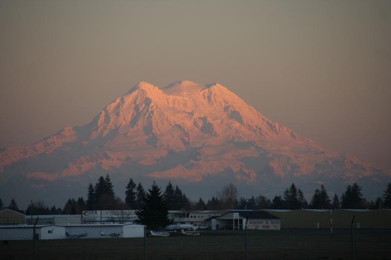 Looking at Mount Rainier from across the runway at Tumwater Airport in Thurston County.