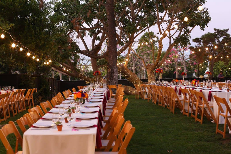 Outdoor wedding reception at the Oak Creek Golf Club in Irvine, CA