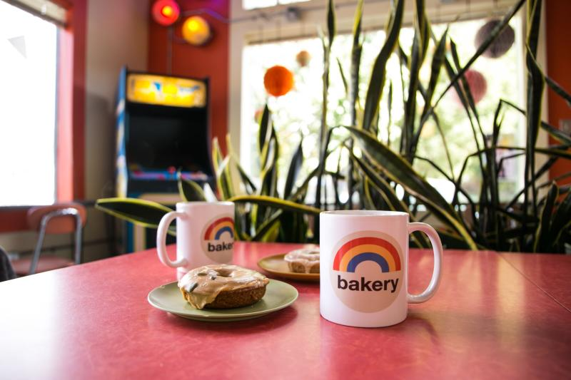 Rainbow Bakery coffee cups and pastries