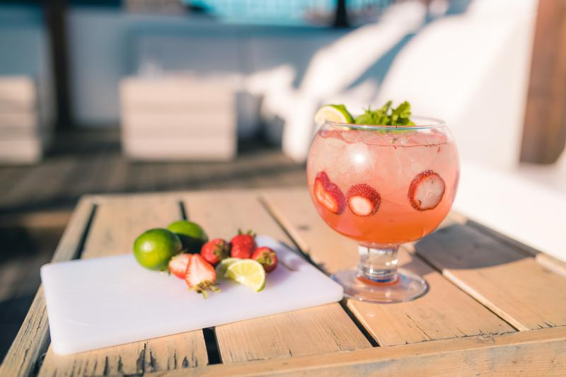 Strawberry Champ-jito frozen cocktail at 77 Degrees rooftop patio bar in Austin at the Domain