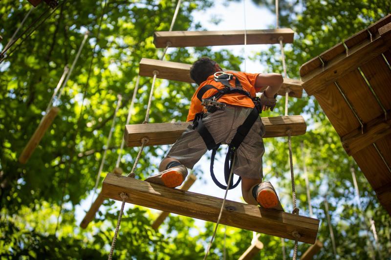 Kid Climbing Ladder at The Adventure Park at Virginia Aquarium