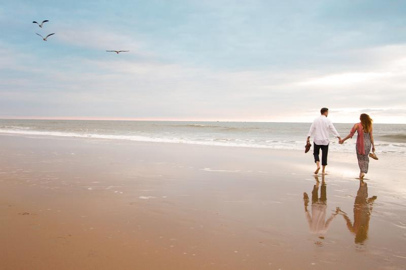 Couple Walking at the Virginia Beach Oceanfront
