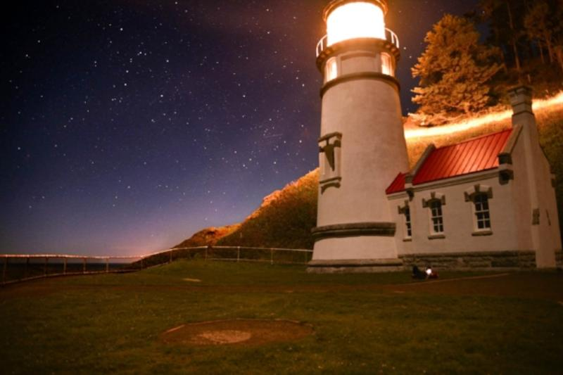 Heceta Head Lighthouse at Night by Melanie Griffin