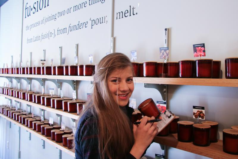 Rachel at Candle Fusion Smelling Candles