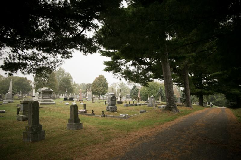Grave sites at the Rose Hill Cemetery in Bloomington, Indiana