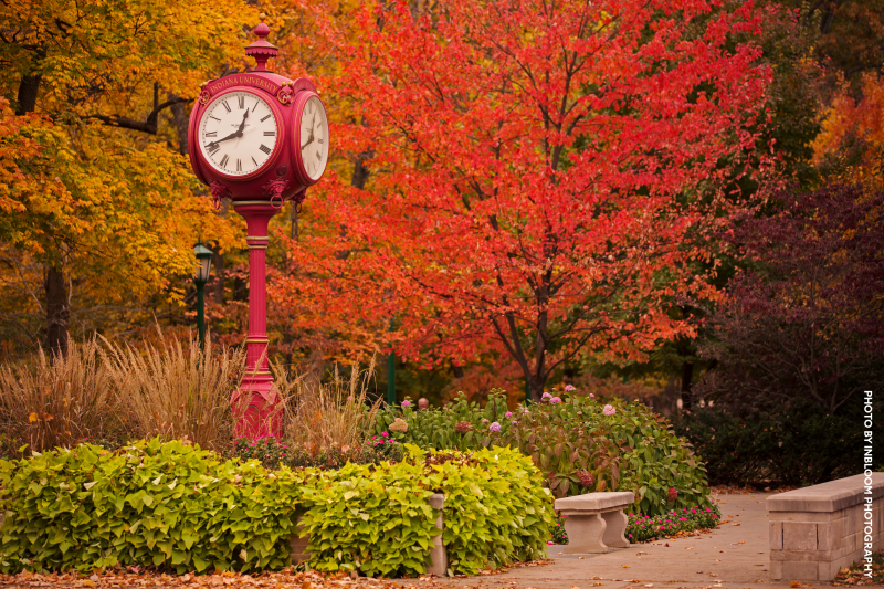 The IU clock on campus in the fall