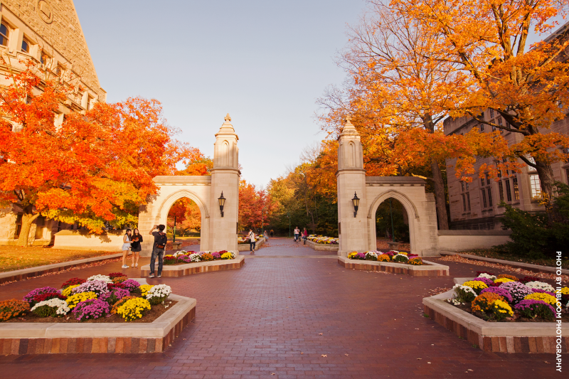 The IU Gates during the fall season