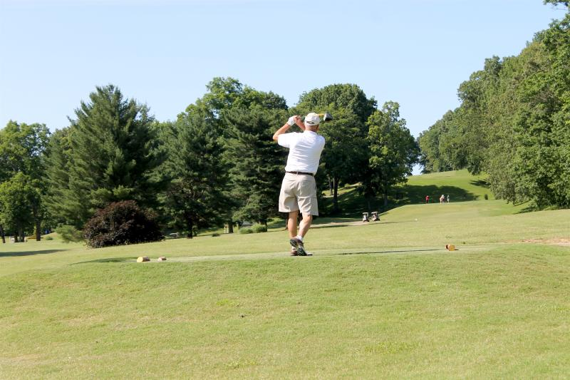 golfer at Swan Lake