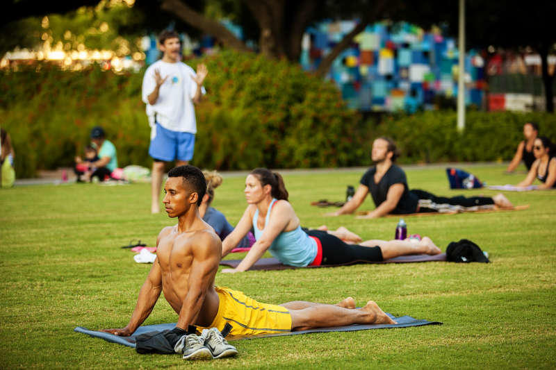 Hatha Yoga in Discovery Green
