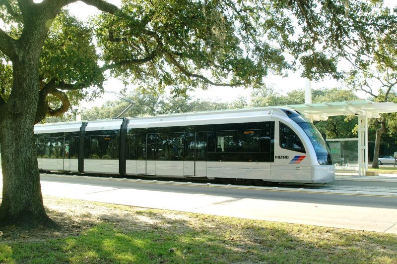 The Metro Rail train in Houston