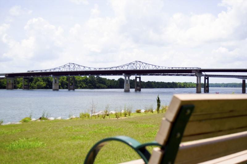A view from a park bench of Ditto Landing in Huntsville, AL