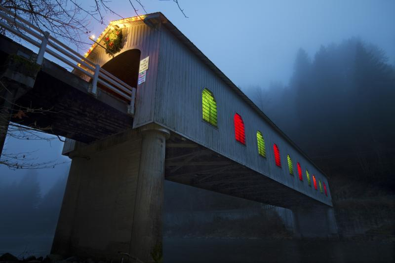 Goodpasture Covered Bridge at Christmas by David Putzier
