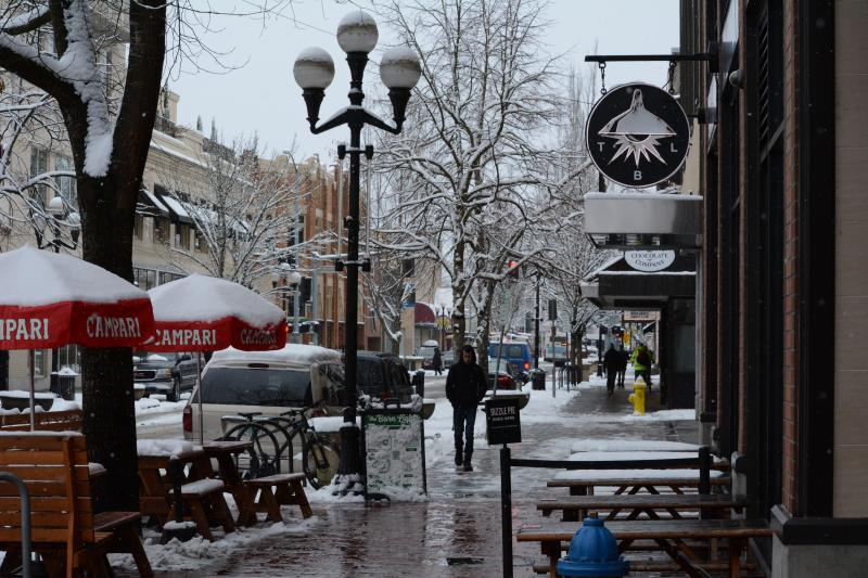 Downtown Eugene in winter by Colin Morton