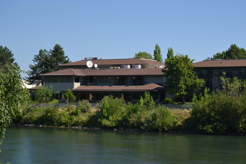 Valley River Inn From Across the Willamette River by Sally McAleer