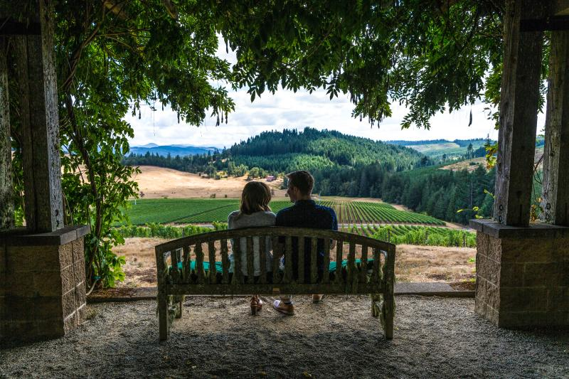 Couple sits on a bench under an archway of wisteria. They are looking out over the vineyards of Oregon Wine Country at Iris Vineyards.