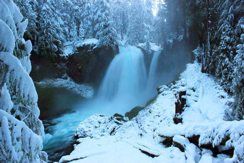 Sahalie Falls in Winter by Greg Yamada