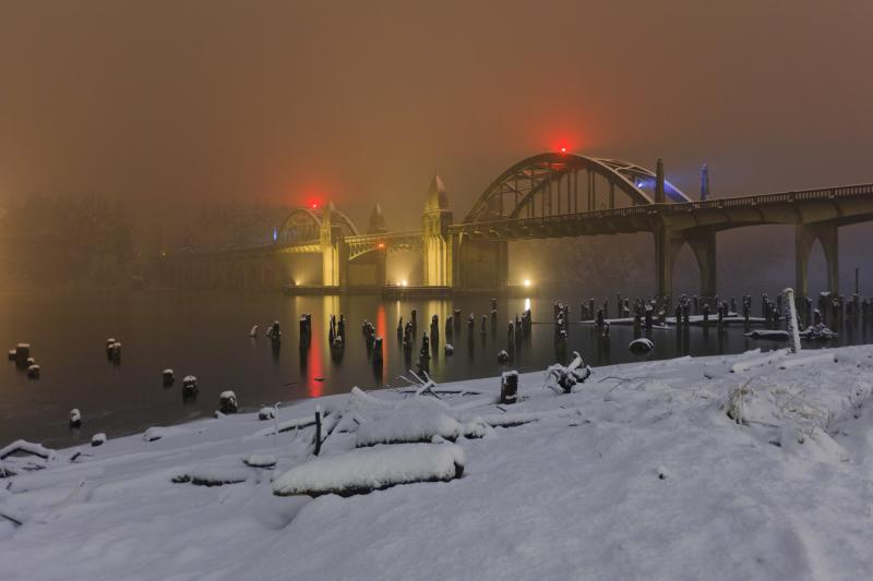 Snowfall on the Siuslaw River Bridge by Stephanie Ames