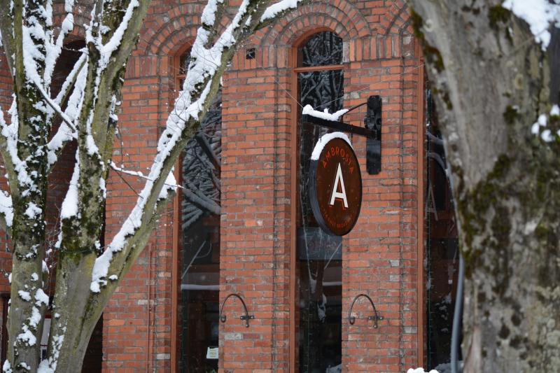Downtown Eugene Restaurant Ambrosia in Snow by Colin Morton