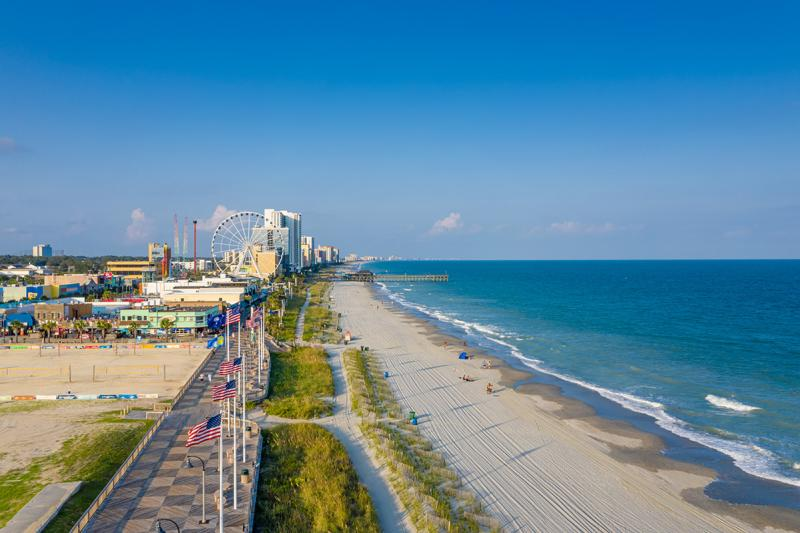 Myrtle Beach coastal aerial with boardwalk and promenade