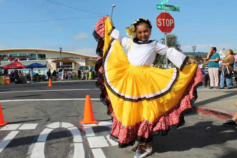 Girl in Traditional Mexican Attire at Fruitvale Night Out