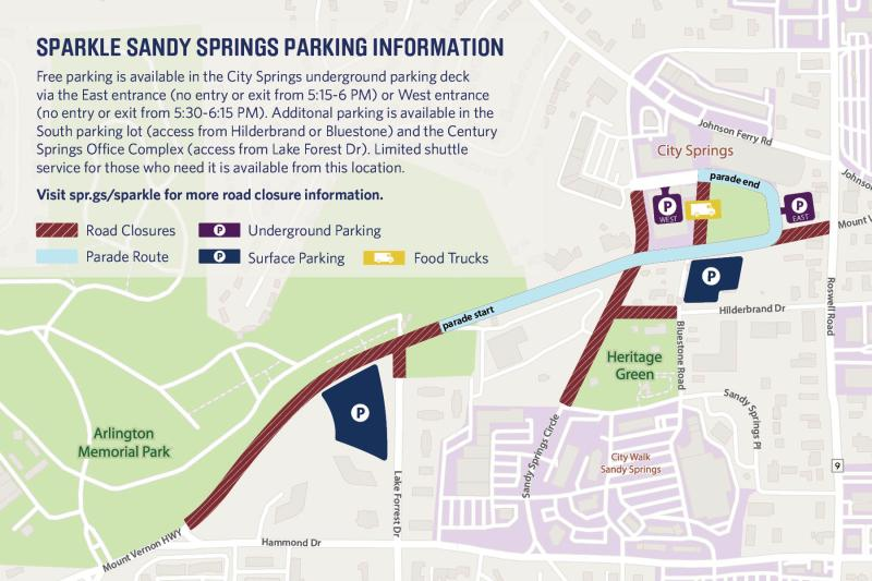 A map of the route for the Sparkle Sandy Springs Holiday Parade
