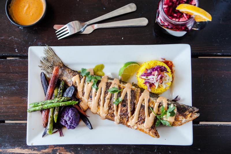Pescado Zarandeado at La Viga Seafood Restaurant in Redwood City
