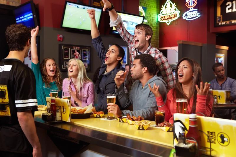 Sports fans cheering at bar